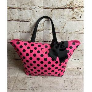 Betsey Johnson Polka Dot Tote With Makeup Bag